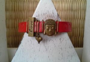 Armband  ♥ Love ♥, Armband  ☀ Buddah ☀, Lederarmband mit Schiebeperlen - Handarbeit kaufen