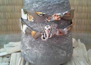 Armband ★ Elefant ★, Wickelarmband ausTextilband mit Schiebeperle