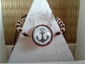 Armband ♥ Anker ♥, roséfarben mit Cabochon und Perlen - Handarbeit kaufen