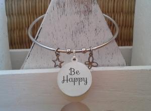 Armreif ☀ Be Happy ☀, Armreif Edelstahl, Armreif mit Anhänger ♥, individualisierbar! - Handarbeit kaufen