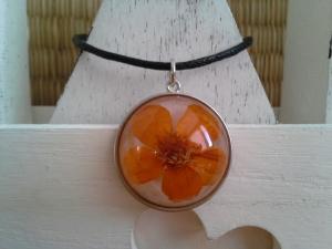 Kette ☀ Blume orange ☀,  ☆ Anhänger mit einer echten Blüte, an einer Baumwollkette  - Handarbeit kaufen