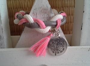 Armband ♥ Pusteblume ♥,  ☆ geflochtenes Armband aus verschiedenen Bändern - Handarbeit kaufen
