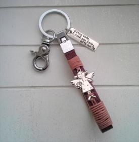 Schlüsselanhänger ★ Drive safe ★ ♡ , aus Kunstleder mit Schutzengel-Anhänger  - Handarbeit kaufen