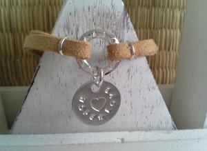 Armband ♥ Hope-Love ♥ ☆, Wildlederarmband mit bedrucktem Anhänger, (★individualisierbar!★) - Handarbeit kaufen