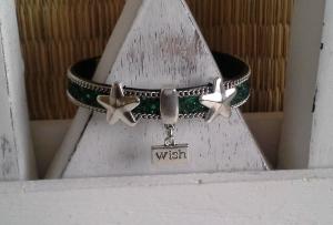 Armband  ☀ Wish ☀ ♡, Kunstlederarmband mit Schiebeperlen und Anhänger - Handarbeit kaufen
