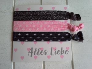 Haargummis ♥ Alles Liebe ♥, elastische Haarbänder/Armbänder auf Schmuckkarte - Handarbeit kaufen