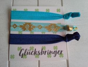 Haargummis ♥ Glücksbringer ♥, elastische Haarbänder/Armbänder auf Schmuckkarte - Handarbeit kaufen