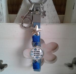 Schlüsselanhänger ★ Das Leben ist zu kurz für später ★ ♡ , aus Jeansband mit Cabochon-Anhänger - Handarbeit kaufen