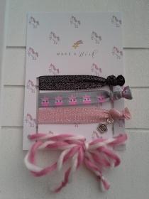 Haargummis ♥ Make a wish ♥, elastische Haarbänder/Armbänder auf Schmuckkarte - Handarbeit kaufen