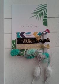 Haargummis ♥ Aloha ♥ Hip Hip Hooray ☀ , elastische Haarbänder/Armbänder auf Schmuckkarte  - Handarbeit kaufen
