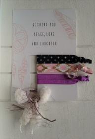 Haargummis ♥ Wishing you ♥, elastische Haarbänder/Armbänder auf Schmuckkarte - Handarbeit kaufen