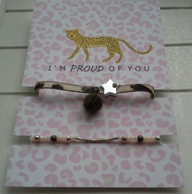 Armband-Set ♥ Safari ♥ ☆, Lederarmband Leopard + elastisches Armband mit Schmuckkarte