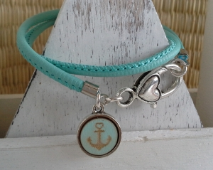 Armband ♥ Anker ★ Stern ♥, Wickelarmband aus Kustlederband mit doppelseitigem Anhänger - Handarbeit kaufen