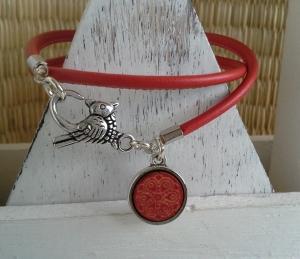 Armband ♥ Mandala ★ Palme ♥, Wickelarmband aus Kustlederband mit doppelseitigem Anhänger  - Handarbeit kaufen