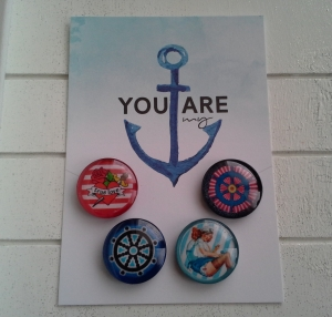 Magnetenset ☀ Seefahrt ☀  ♥,  4 Stück, mit Schmuckkarte - Handarbeit kaufen