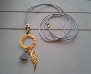 Halskette ☀Engelsflügel☀, lange Kette aus Satinband mit bedrucktem Anhänger und Quaste (★individualisierbar!★)