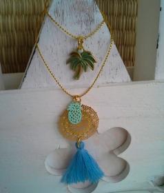 Halskette ☀Tropical☀, lange Kette aus feiner Kordel im Metallic-Look mit Anhängern und Quaste