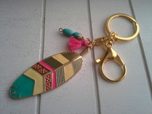 Schlüsselanhänger ★Tropical★ ♡ , aus Metall, mit Anhängern und Quaste