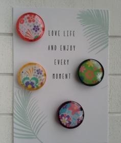 Magnetenset ☀ Blume ☀  ♥,  4 Stück, mit Schmuckkarte