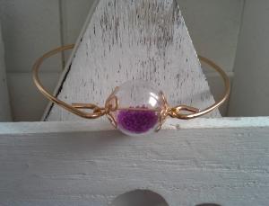 Armreif ♥ Glaskugel ♥,  ☆ aus Metall, mit Glaskugel gefüllt mit Kügelchen