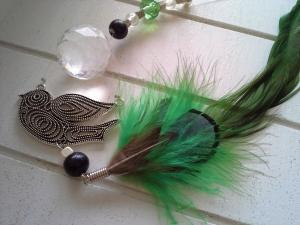 Fensterhänger ☀ Taube ☀ ♡, mit Kristallanhänger und Federn - Handarbeit kaufen