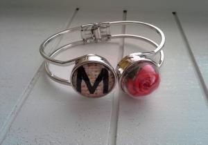 Armspange ♥ Rose ♥,  ☆ aus Metall mit 2 Chunks, Glaskuppel mit Stoff-Rose, und Buchstaben-Chunk - Handarbeit kaufen