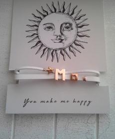 Armband ♥ Buchstabe ♥ rosé ☆,  aus Kunstleder, mit Schmuckkarte