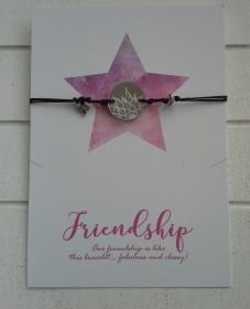 Armband ♥ Spiegel ♥,  mit Schmuckkarte, geknüpftes Armband mit Gravur-Anhänger - Handarbeit kaufen