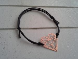 Armband ♥ Herz ♥, geknüpftes Armband mit filigranem Anhänger ☀ individualisierbar! - Handarbeit kaufen