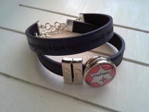 Armband ♥ Name ♥, aus Kunstlederband mit Namens-Chunk ☀ individualisierbar!    - Handarbeit kaufen