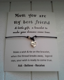 Armband ♥ Mama ♥,  mit Schmuckkarte, geknüpftes Armband mit Thank you - Anhänger - Handarbeit kaufen