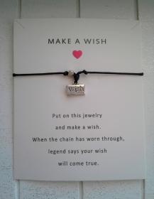 Armband ♥ Make a Wish ♥,  mit Schmuckkarte, geknüpftes Armband mit Wish - Anhänger
