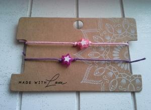 Armband ♥ Stern ♥,  2 Stück mit Schmuckkarte, geknüpfte Armbänder mit Stern - Anhänger  - Handarbeit kaufen