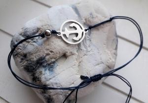 Armband ♥ Anker ♥, Edelstahl ☆ geknüpftes Armband mit Anhänger ☀ individualisierbar!    - Handarbeit kaufen