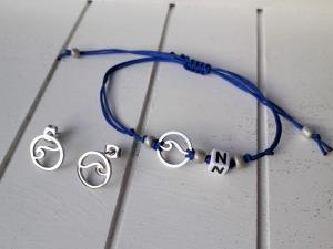 Armband ♥ Welle ♥, Edelstahl ☆ geknüpftes Armband mit Anhänger ☀ individualisierbar! ☀ passende Ohrringe