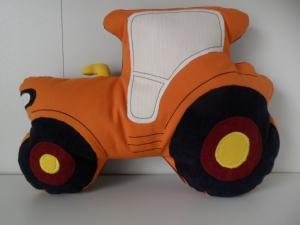 Kuschelkissen Traktor orange mit Personalisierung