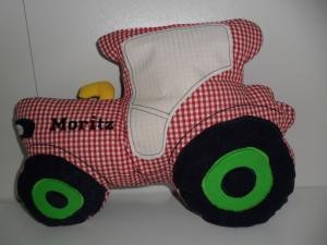 Kuschelkissen Traktor kariert mit Personalisierung