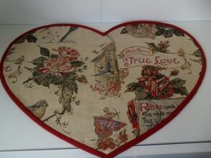 Tischset in Herzform  True Love die wahre Liebe