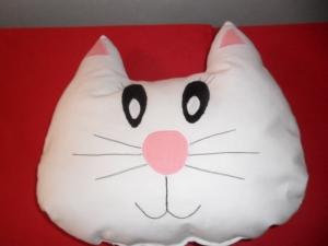 Kuschelkissen weiße Katze mit gratis Personalisierung
