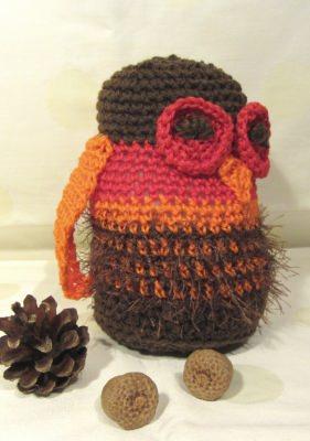 Eule ♥ handgehäkelt aus Baumwolle und Polyester in Braun Rot und Orange kaufen