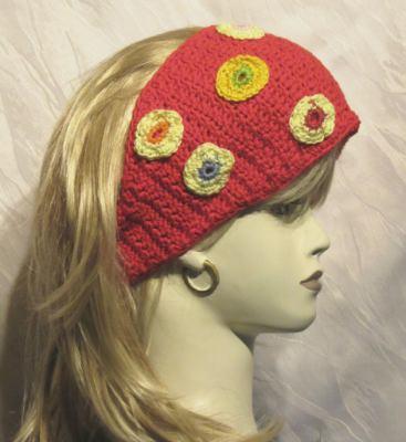 Stirnband handgehäkelt aus Baumwolle in Rot kaufen