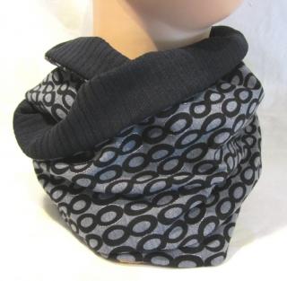 Handgefertigter Rundschal ♡ Schlauchschal ♡ Männer aus Baumwolljersey und Viskosejersey in Schwarz Grau kaufen - Handarbeit kaufen