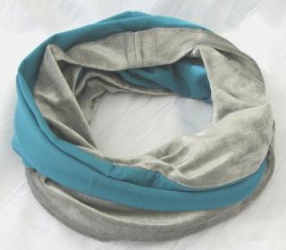 Rundschal ♡ Schlauchschal ♡ Männerschal handgemacht aus Baumwolljersey in Petrol und Silbergrau kaufen