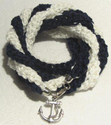 Wickelarmband ♡ handgehäkelt aus Baumwolle im maritimen Stil kaufen