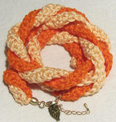 Handgehäkeltes Wickelarmband ♡ Damen aus Baumwolle in Orange und Lachsrosa kaufen - Handarbeit kaufen