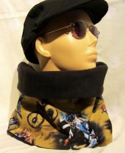 Schal  handgenäht aus Fleecestoff in Schwarz und Baumwollstoff mit BikeCrossing Muster kaufen