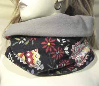 Rundschal handgefertigt aus Baumwolle in Schwarz Bunt und Polarfleece in Grau kaufen