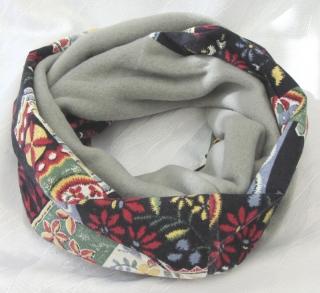 Rundschal ✂ Schlauchschal handgefertigt aus Baumwolle in Schwarz Bunt und Fleecestoff in Grau kaufen