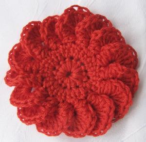 Blüte ☀ handgehäkelt aus Baumwolle in Rot kaufen oder in Ihrer Wunschfarbe bestellen