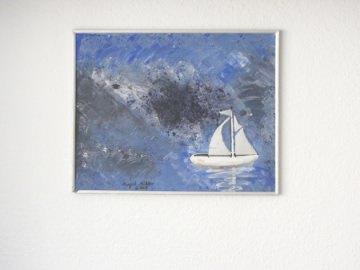 Acrylbild mit dem Titel Boot in Not handgemalt mit Acrylfarben auf einer Hartfaserplatte direkt von der Künstlerin das Original kaufen